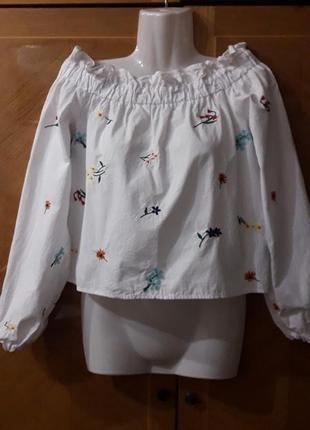 Topshop вышиванка  блуза  с открытыми плечами  р.8 хлопок