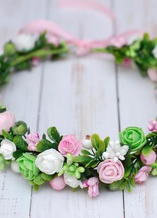 Веночек с цветами бело-розово-салатовый
