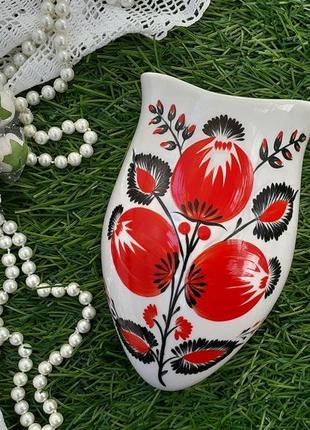 Ваза (кашпо) ссср,  киевский экхз, 70-е, фарфоровая с ручной художественной росписью