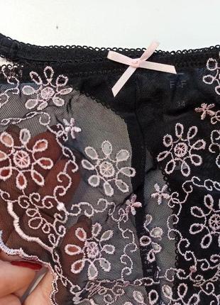Uk14 /наш 48 роскошные трусики трусы стринги из прозрачного тюля  c вышивкой f&f