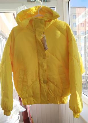Яркая жёлтая объемная куртка оверсайз, пуффер, дутая куртка, дутик, бомбер