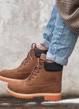 Ботинки женские ❄зимние timberland brown мех