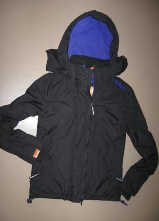 Superdry куртка ветровка windcheater xxs на флисе капюшоном