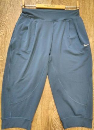 Спортивные укороченный штаны- капри- бриджи- оригинал/nike dri-fit/цвет- серо- голубой