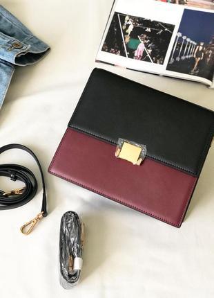Сумочка кроссбоди с двумя ремешками , черно-бордовая сумка, кожаная сумка через плечо