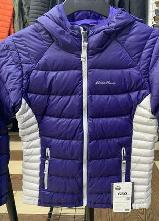 Куртка eddie bauer girls downlight hooded jacket blueberry