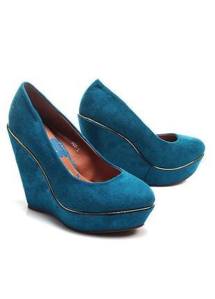 Sale -50%! замшевые туфли на танкетке