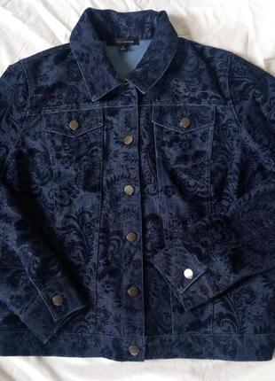 Джинсовая куртка синяя с бархатным обьемным узором/тиснением