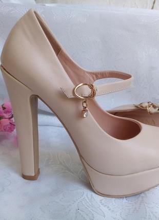 Туфли (босоножки) suzana, эко-кожа на высоком каблуке (13,5 см),пудровые