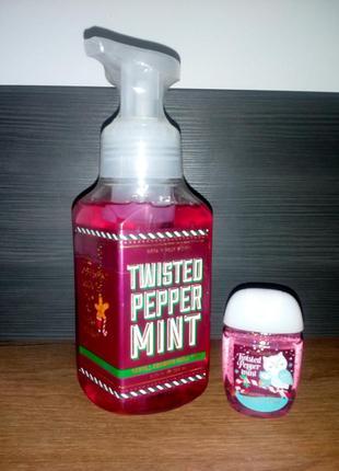 "Набір ""twisted peppermint"" мило-пінка і санітайзер"