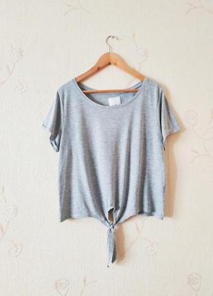 Серая футболка, топ, с завязками, базовая