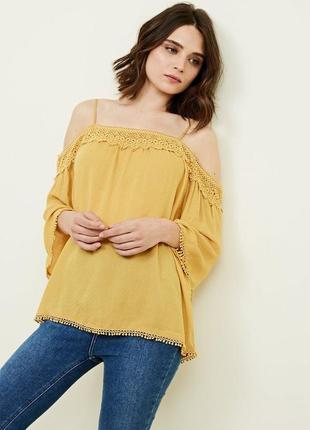 Изысканная фактурная блуза с кружевом открытые плечи