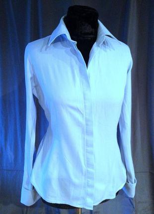 Рубашка под запонки светло голубая с узором шеврон (елочка) thomas pink