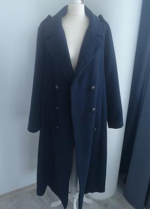 Длинное двубортное темно синее шерстяное пальто оверсайз / макси пальто