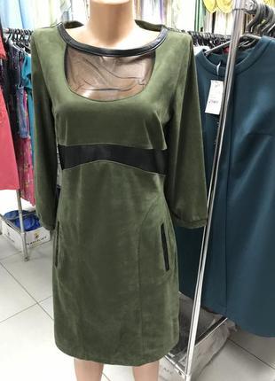 Платье оливковое замшевое