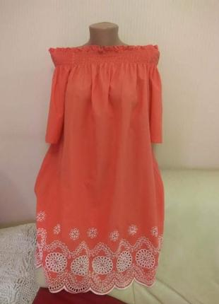 Трендовое платье свободное оверсайз вышивка прошва