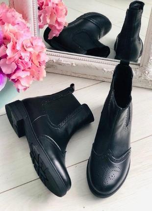 Lux обувь! кожаные натуральные женские ботинки челси демисезонные/зимние