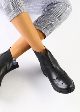 Lux обувь! кожаные натуральные женские ботинки челси демисезонные зима