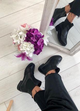 Lux обувь! качественные натуральные кожаные женские ботинки челси демисезонные зима