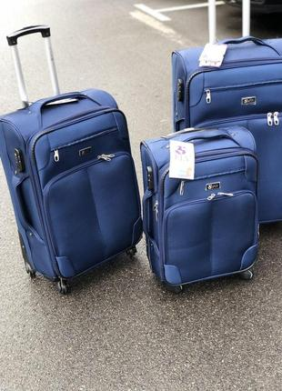 Распродажа/супер цена комплект чемоданов синего цвета по скидке/набір валіз не дорого