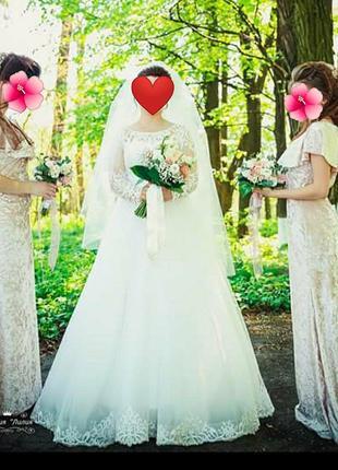 Свадебное платье с фатой🤗👰👰