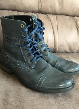 Синие кожаные высокие осенние ботинки на шнурках