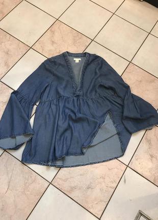 Блуза свободная джинс лиоцел