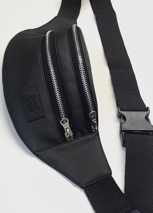 Новая бананка чёрная кожаная,сумка на пояс,через плечо,кондукторка,поясная