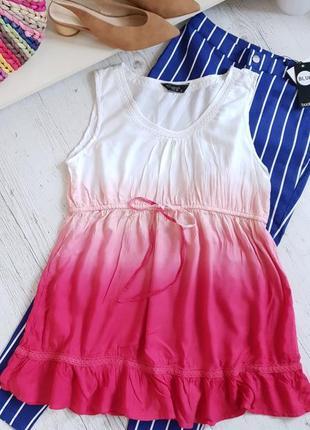 Блуза из натуральной ткани с эфктом омбре.