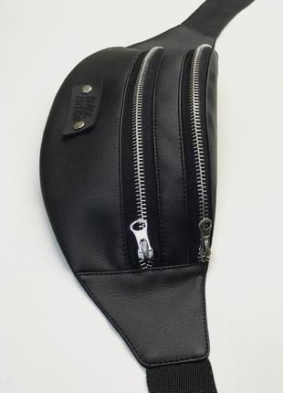 Новая бананка чёрная кожаная,сумка на пояс,барсетка,поясная,через плечо,кондукторка