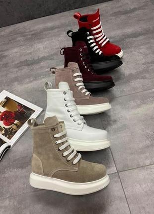 🔥натуральные замшевые/кожаные ботинки демисезонные/зимние на шнуровке🔥