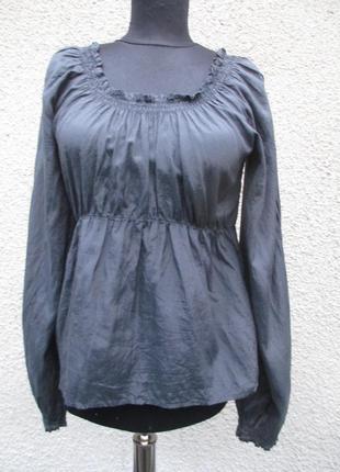 Тоненькая блузка из шелка и хлопка графитовая