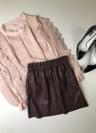 Кожаная юбка zara размер с новая