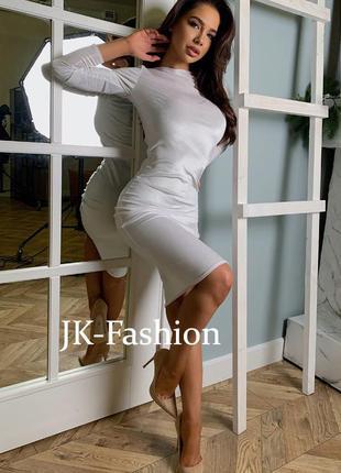 Футлярное бархатное белое платье jk-fashion миди длины