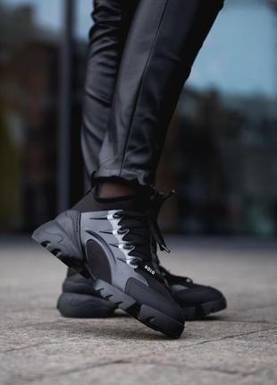 Dior d-connect black шикарные женские кроссовки диор чёрные