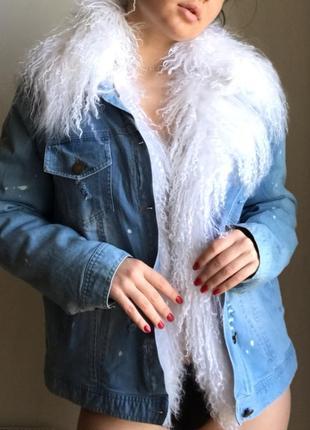 Супер цена! джинсовка джинсовая куртка парка 2 в 1 с мехом ламы лама рекс
