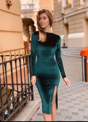 Изумрудное бархатное платье jk-fashion изумрудное миди с разрезом