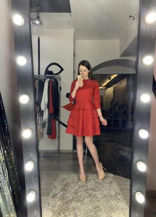 Шикарное мини платье нарядное элегантное красное приталенное неопрен юбка солнце