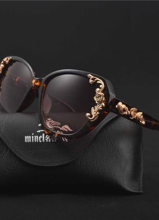 """Солнцезащитные очки с золотой чеканкой """"роза"""" (коричневые)"""