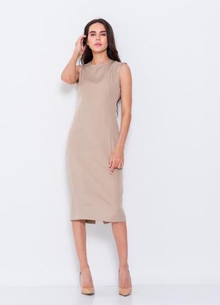 Бежевое платье футляр issa однотонное