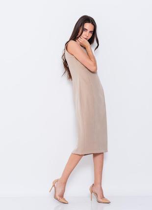 Бежевое платье футляр issa однотонное2 фото