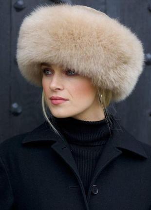 Женская меховая шапка боярка  песец, кожа (беж)