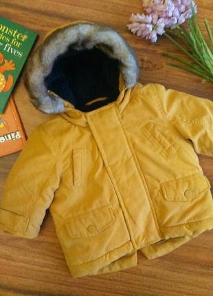 Модная демисезонная куртка, парка на малыша ms на 3-6 месяцев.