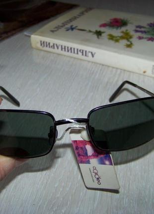 Прямоугольные очки с прочной рамой метал и серой дымчатой линзой