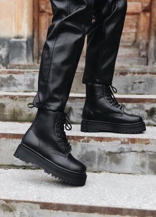Dr.martens jadon mono black fur шикарные женские ботинки мартинс с мехом чёрные