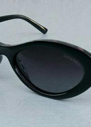 Chanel модные женские солнцезащитные очки узкие овальные черные поляризированые