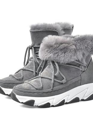 Шикарные натуральные зимние угги ботинки слипоны сапоги из овчины.