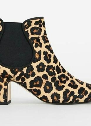 Меховые леопардовые ботинки сапоги
