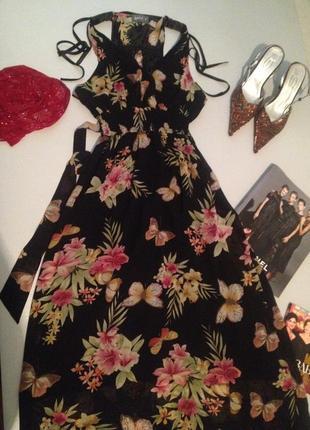 Красивый шифоновый сарафан в пол с цветочным принтом.1020