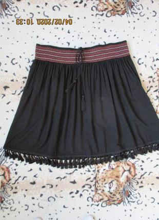 Летняя вискозная юбка с бахромой/на широкой резинке/батал uk 18/52 рр